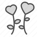 flower, heart, love, plant icon