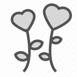 flower, heart, love, plant icon