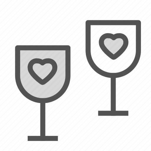 glass, heart, love, wine icon