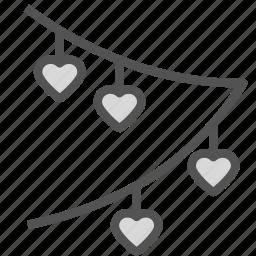 decoration, heart, love, party, valentine, wedding icon