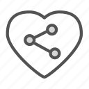 connection, heart, love, network icon