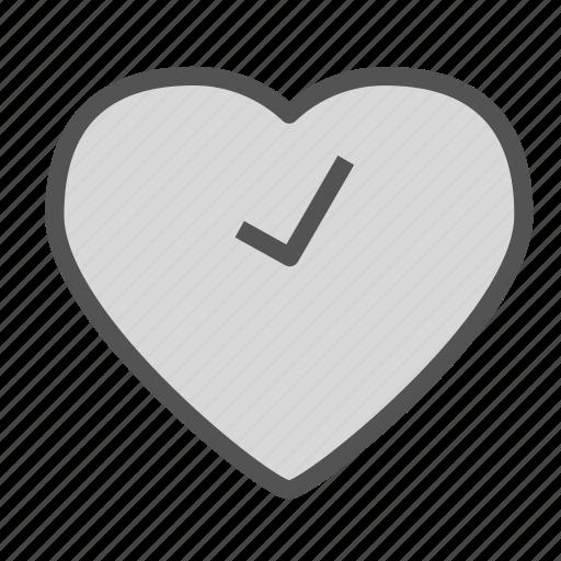 check, heart, love, ok icon