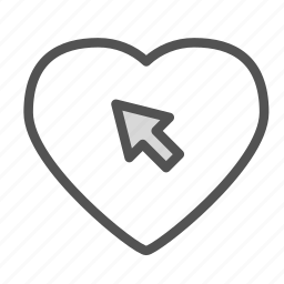 arrow, cursor, heart, love, pointer icon