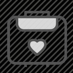 bag, heart, love, luggage, travel icon