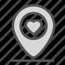heart, location, love, mark, pin icon