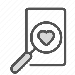 glass, heart, love, magnifying, search icon