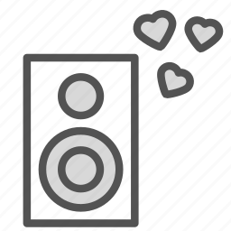 heart, love, music, sound, speaker icon