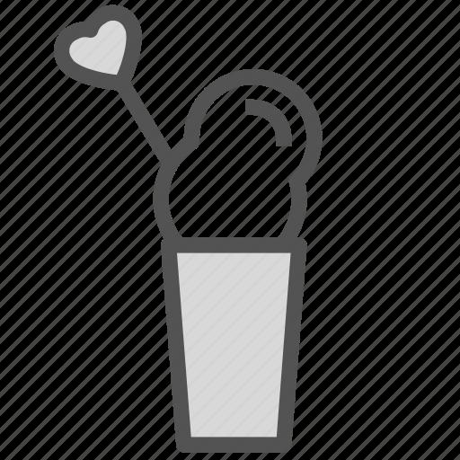 cream, glass, heart, straw, whip icon