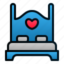 bed, furniture, honeymoon, love, romance, valentine, wedding icon