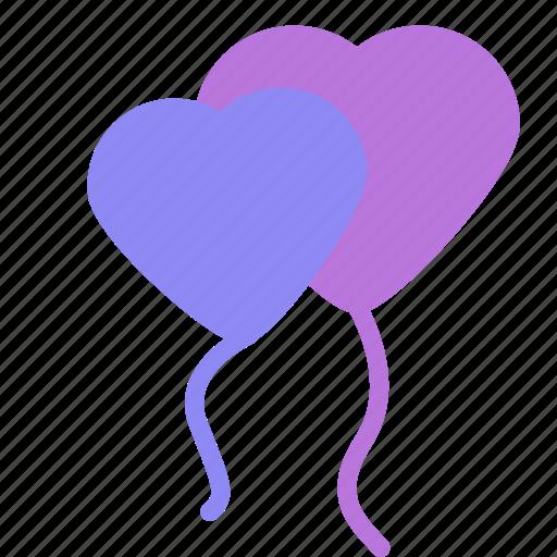 balloons, decoration, heart, love, valentine icon
