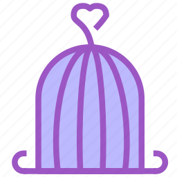 bird, cage, heart, love, trappet icon