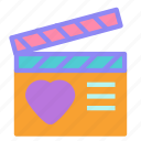 clapperboard, cut, heart, love, movie, scene icon