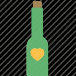 bottle, drink, heart, love icon