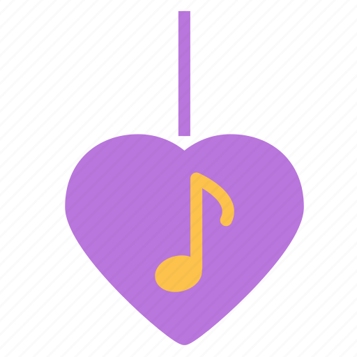heart, love, music, necklace, note, pendant icon