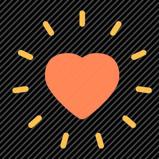 heart, love, radiant, shine icon