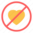 crossed, denied, heart, love icon