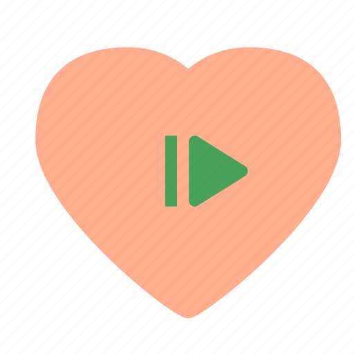 heart, love, pause, play icon