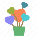 flower, heart, love, plant, pot icon