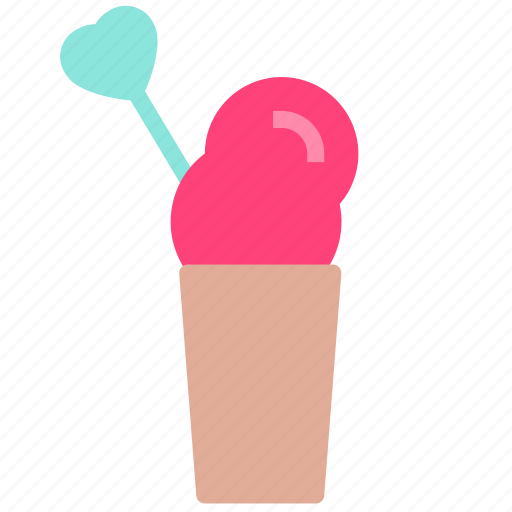 cream, glass, heart, straw, whip icon