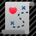 love, map, marriage, romance, treasure, valentine, wedding icon