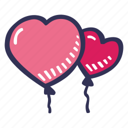 balloons, feelings, hand drawn, love, romantic, valentines, valentines day icon