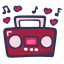 boombox, feelings, hand drawn, love, romantic, valentines, valentines day icon