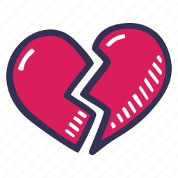 broken, feelings, heart, love, romantic, valentines, valentines day icon