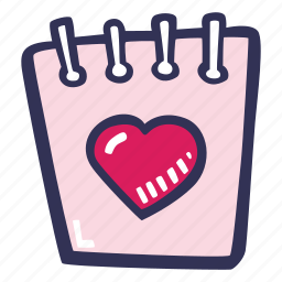 calendar, feelings, hand drawn, love, romantic, valentines, valentines day icon