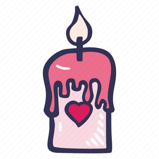 candle, feelings, hand drawn, love, romantic, valentines, valentines day icon