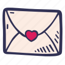 envelope, feelings, hand drawn, love, romantic, valentines, valentines day icon