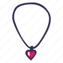 feelings, love, necklace, romantic, valentines, valentines day icon