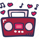 boombox, feelings, love, music, romantic, valentines, valentines day icon