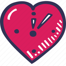 clock, feelings, hand drawn, love, romantic, valentines, valentines day icon
