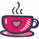 cup of tea, feelings, hand drawn, love, romantic, valentines, valentines day icon