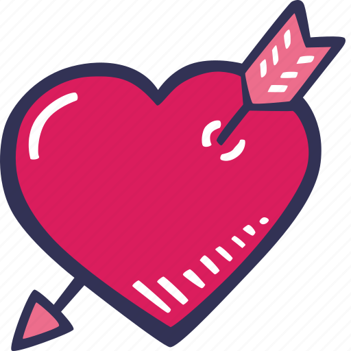 arrow, feelings, heart, love, romantic, valentines, valentines day icon