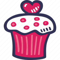 feelings, hand drawn, love, muffin, romantic, valentines, valentines day icon