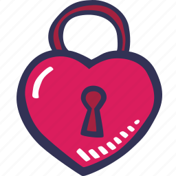 closed, feelings, love, padlock, romantic, valentines, valentines day icon