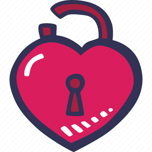 feelings, love, open, padlock, romantic, valentines, valentines day icon