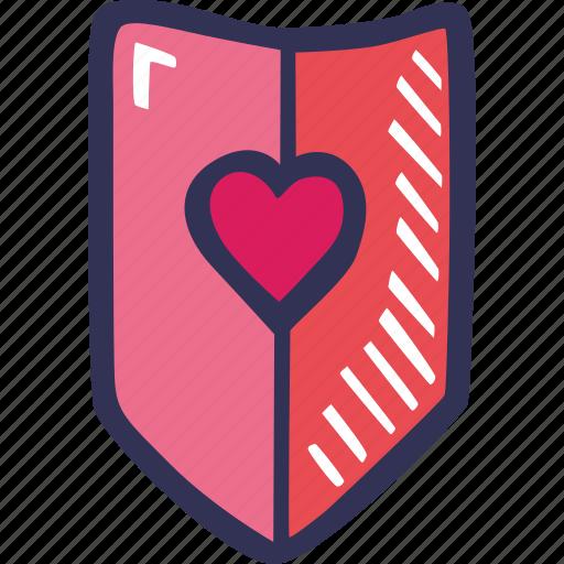 feelings, hand drawn, love, romantic, shield, valentines, valentines day icon
