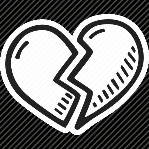 broken, feelings, heart, love, romantic, valentines, valentines day icon