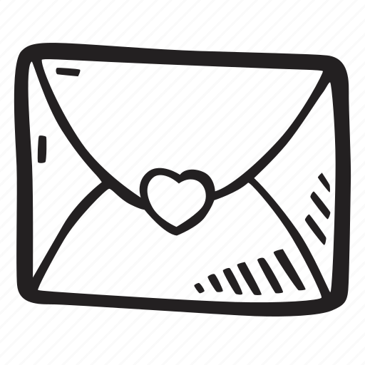 envelope, feelings, hand drawn, love, romantic, valentines, valentines day icon