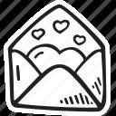 envelope, feelings, love, open, romantic, valentines, valentines day icon