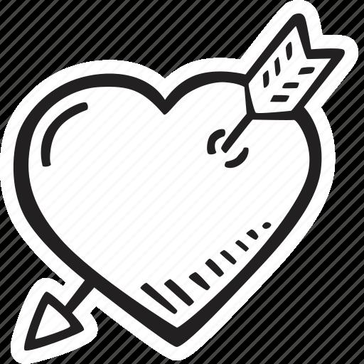 arrow, feelings, heart, love, romantic, valentines, valentines day icon