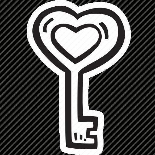 feelings, hand drawn, key, love, romantic, valentines, valentines day icon