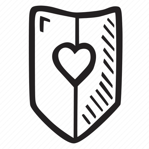 feelings, hand drawn, love, romantic, shield, valentines, valentines day icon