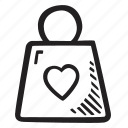 bag, feelings, love, romantic, shopping, valentines, valentines day icon