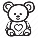 bear, feelings, love, romantic, teddy, valentines, valentines day icon