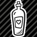 feelings, hand drawn, love, romantic, valentines, valentines day, wine icon