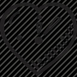 clock, feelings, hand drawn, love, romantic, valentines, valentines day icon