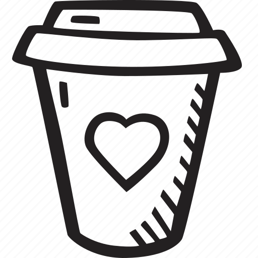 coffee, feelings, hand drawn, love, romantic, valentines, valentines day icon